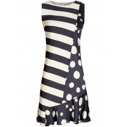 Stilvolles Kleid VICTORIA mit edlem Streifen- und Punkte-Dessin /