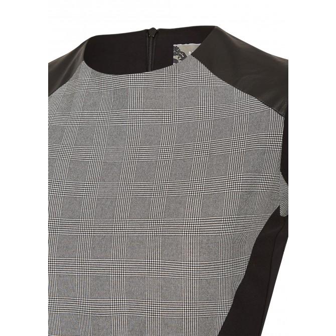 NICOWA – Modisches Kleid Nelsa mit Karomuster und Kunstledereinsätzen /