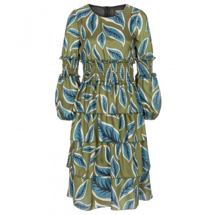 Trendy ISMERA tiered dress with stylish leaf design /