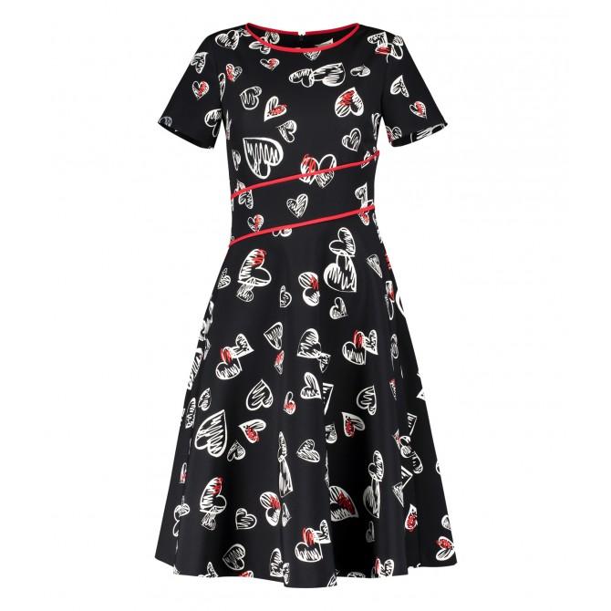 Romantisches Kleid DECIANA in modischer Midi-Länge in Schwarz, Weiß und Rot /
