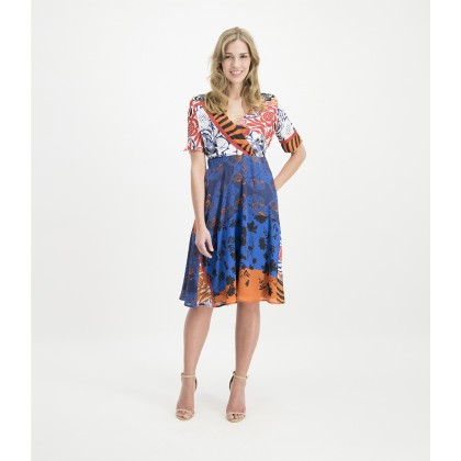 Patterned LELEWA dress in wrap look /