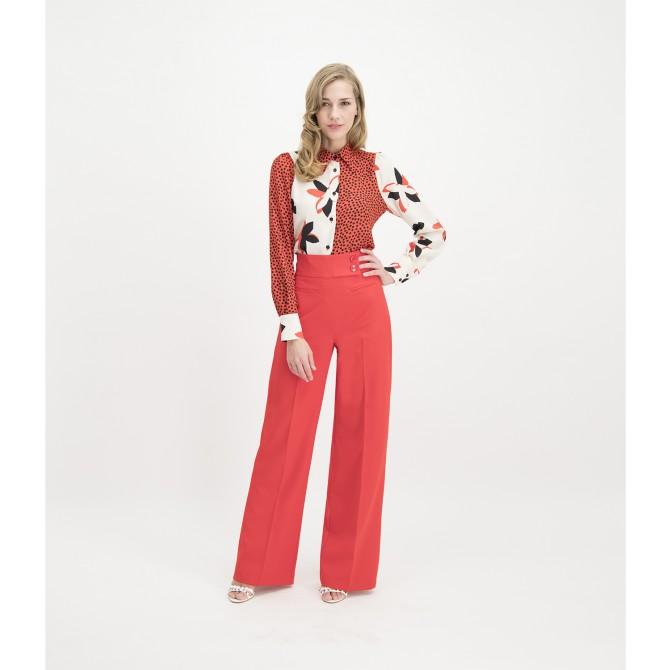 Elegante Taillenbund-Hose COREANA mit weitem Bein /