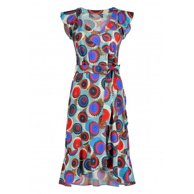 Sommerliches Kleid NAVILLA mit Volants und Allover-Muster /