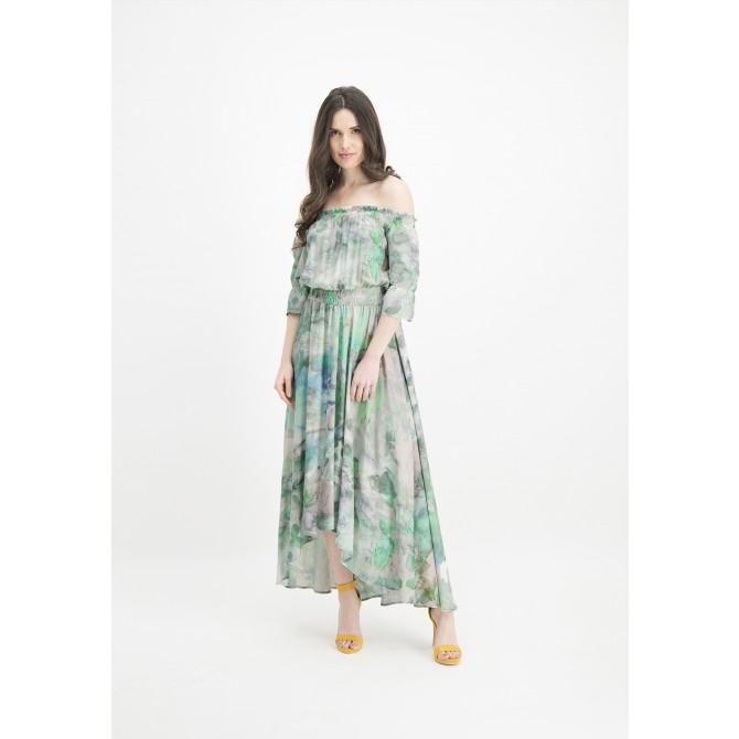 Kleid NERMINI mit Carmenaussschnitt und Batik-Muster /