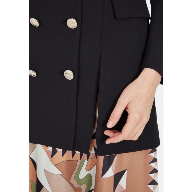 Long-Blazer mit doppelter Knopfleiste und Gürtel - LENINO /