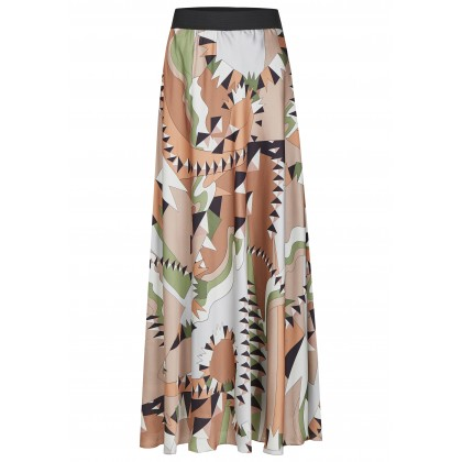 Maxi skirt with stylish mix of patterns and A-line - MONINO /