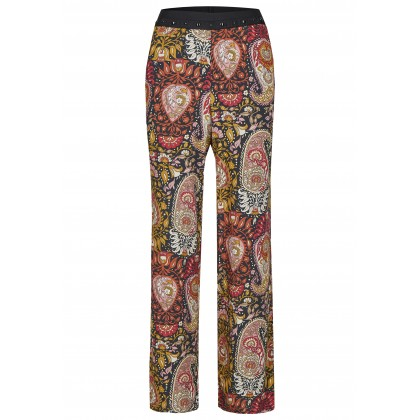 Wide trousers with studs and floral paisley pattern - NOSTIFO /