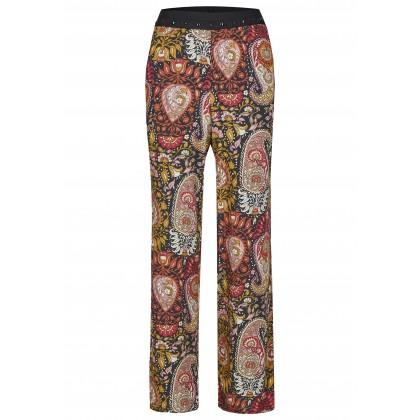 Weite Hose mit Nieten und floralem Paisley-Muster - NOSTIFO /