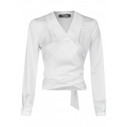 Wickel-Bluse mit Rücken-Schleife und V-Ausschnitt - NOMAR /