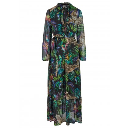 Maxi-Dress with tropical all-over-print - ANIWA /