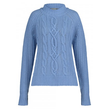 Crew neck jumper with cable knit design – SANBETA /
